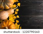 three pumpkins of different... | Shutterstock . vector #1220790163