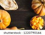 a frame of whole pumpkins of...   Shutterstock . vector #1220790166