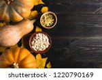 three pumpkins of different...   Shutterstock . vector #1220790169