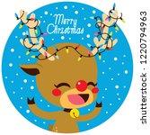 cute little happy deer with... | Shutterstock . vector #1220794963