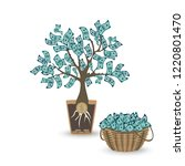 money tree with a coin root.... | Shutterstock .eps vector #1220801470