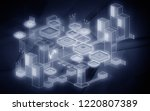 blockchain network background....   Shutterstock . vector #1220807389