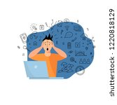 person get too much information.... | Shutterstock .eps vector #1220818129