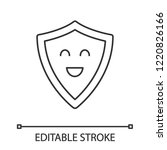 smiling shield linear icon.... | Shutterstock .eps vector #1220826166