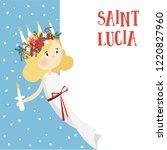 little blonde girl with wreath... | Shutterstock .eps vector #1220827960
