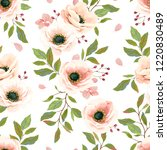 seamless pattern with flowers... | Shutterstock .eps vector #1220830489