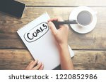 woman written goals text  | Shutterstock . vector #1220852986