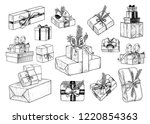 a set of various boxes and... | Shutterstock .eps vector #1220854363