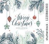greeting card mery christmas...   Shutterstock .eps vector #1220860303