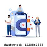 social media concept with... | Shutterstock .eps vector #1220861533