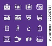 Camera Icons and Camera Accessories Icons with Violet Background - stock vector