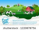 vector milk illustration with... | Shutterstock .eps vector #1220878756