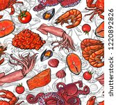 vector illustration of seafood...   Shutterstock .eps vector #1220892826