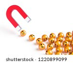 horseshoe red magnet attracting ... | Shutterstock . vector #1220899099