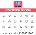 medical research icons. set of  ... | Shutterstock .eps vector #1220899240