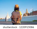 asian girl tourist travel... | Shutterstock . vector #1220915086