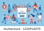christmas sale concept. people... | Shutterstock .eps vector #1220916070
