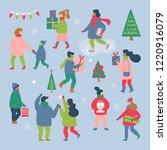 people dressed in winter... | Shutterstock .eps vector #1220916079