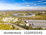 Aerial view over Cupertino in Bay Area, California on a sunny day.