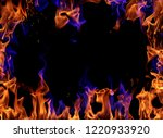 fire flames on black background | Shutterstock . vector #1220933920