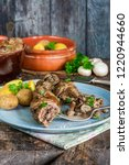 beef roulade staffed with...   Shutterstock . vector #1220944660