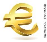 3d golden euro sign isolated on ... | Shutterstock .eps vector #122095630