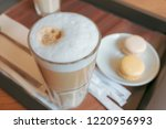 a glass of coffee latte... | Shutterstock . vector #1220956993