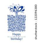 vintage birthday card.... | Shutterstock .eps vector #122096380