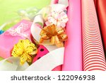 rolls of christmas wrapping... | Shutterstock . vector #122096938