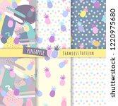 pineapple seamless pattern.... | Shutterstock .eps vector #1220975680