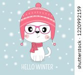 cute white cat in hat and pink... | Shutterstock .eps vector #1220992159