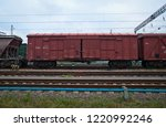 freight car on a railroad | Shutterstock . vector #1220992246