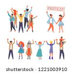 public street protest concept.... | Shutterstock .eps vector #1221003910