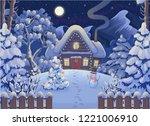 winter night forest landscape... | Shutterstock .eps vector #1221006910