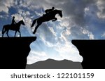 silhouette of a rider on a... | Shutterstock . vector #122101159