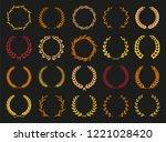 vector laurel autumn wreaths on ...   Shutterstock .eps vector #1221028420