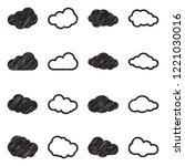 clouds icons. black scribble... | Shutterstock .eps vector #1221030016