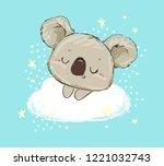 beautiful cute childish print... | Shutterstock .eps vector #1221032743