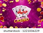 casino dice banner signboard on ... | Shutterstock .eps vector #1221036229