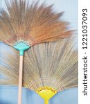 brooms are on the white wall ... | Shutterstock . vector #1221037093