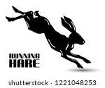 Stock vector running hare black and white vector illustration isolated on white background 1221048253