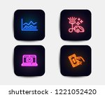 neon set of e mail  trade... | Shutterstock .eps vector #1221052420