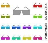 3d glasses icon in multi color. ...