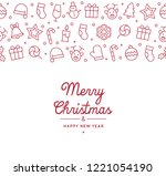 seamless merry christmas icon... | Shutterstock .eps vector #1221054190