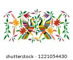 ethnic mexican tapestry with... | Shutterstock .eps vector #1221054430