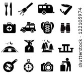 Camping icons black on white. Silhouettes of outdoor recreation related objects.