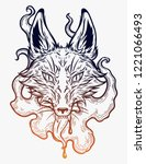 the head of a fox in smoke. ...   Shutterstock .eps vector #1221066493