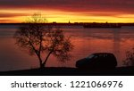 beautiful dawn over the river... | Shutterstock . vector #1221066976