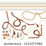 set of the belt elements  chain ... | Shutterstock .eps vector #1221071986