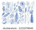 vector set of bright tropical... | Shutterstock .eps vector #1221078040